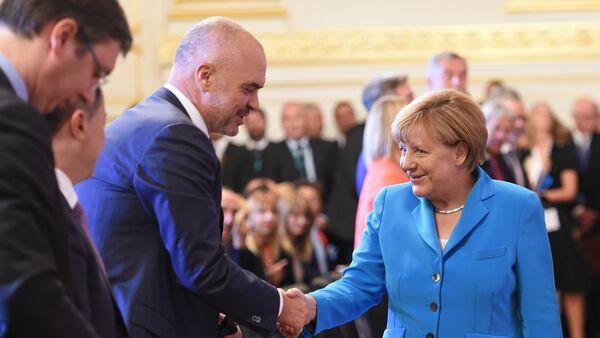 Premijer Albanije Edi Rama i nemačka kancelarka Anlega Merkel - Sputnik Srbija