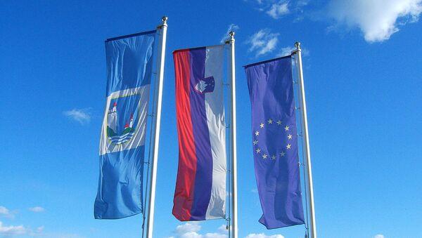 Zastave Slovenije i EU - Sputnik Srbija