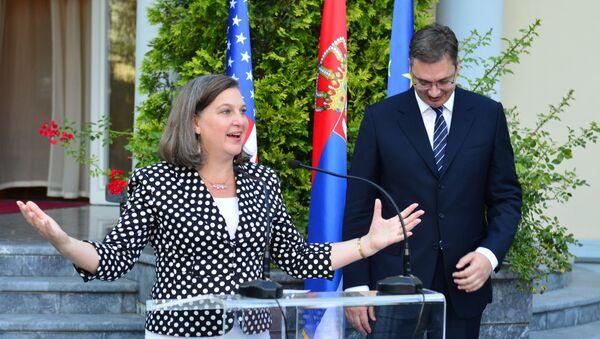 Pomoćnica američkog državnog sekretara za Evropu i Evroaziju Viktorija Nuland i mandatar Aleksandar Vučić - Sputnik Srbija