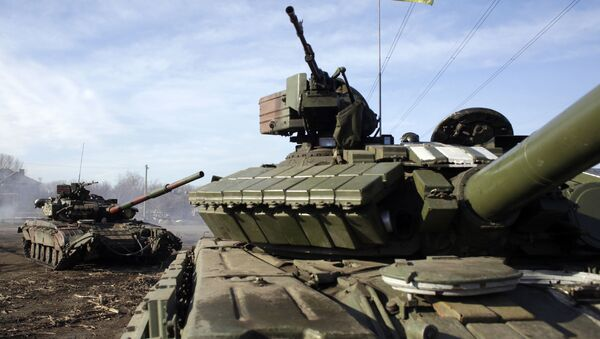 Украјински тенкови на пункту Горловка, Донбас - Sputnik Србија
