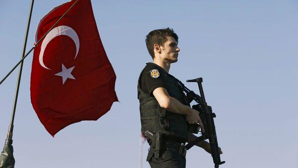 Policajac na vojnim oklopnim vozilima na Bosforskom mostu u Istanbulu nakon pokušaja državnog udara u Turskoj, 16. jul 2016. - Sputnik Srbija