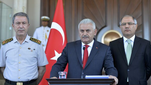 Турски премијер Бинали Јилдирим на прес-конференцији након покушаја државног удара у Турској - Sputnik Србија
