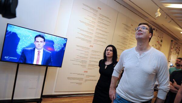 Александар Вучић на изложби Нецензурисане лажи - Sputnik Србија