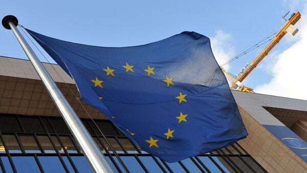 Застава ЕУ на згради седишта ЕУ у Бриселу - Sputnik Србија