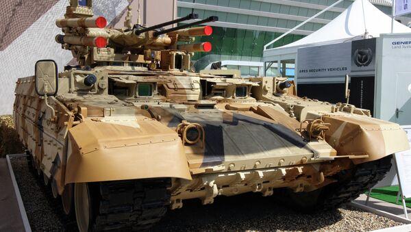 Borbeno vozilo za podršku tenkovima (BMPT) Terminator kompanije Uralvagonzavod na međunarodnom sajmu odbrane u Abu Dabiju. - Sputnik Srbija