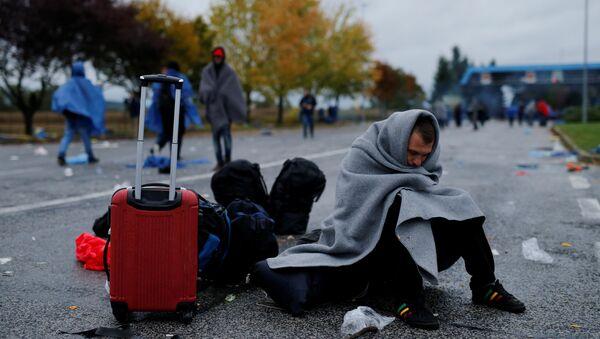 Migranti čekaju da pređu granicu sa Slovenijom u blizini Trnovca u Hrvatskoj. - Sputnik Srbija