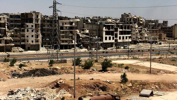 Оштећене зграде у округу Рамусех у Алепу. - Sputnik Србија