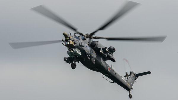 Хеликоптер Ми-28 Н пилотске групе Беркути током аеро-митингу Хидроавиосалон 2014 у Геленџику - Sputnik Србија