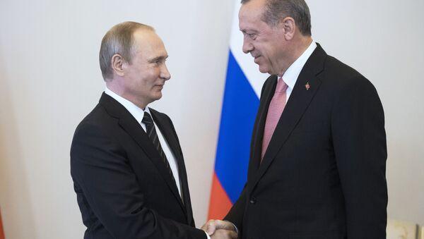Председници Русије и Турске Владимир Путин и Реџеп Тајип Ердоган - Sputnik Србија