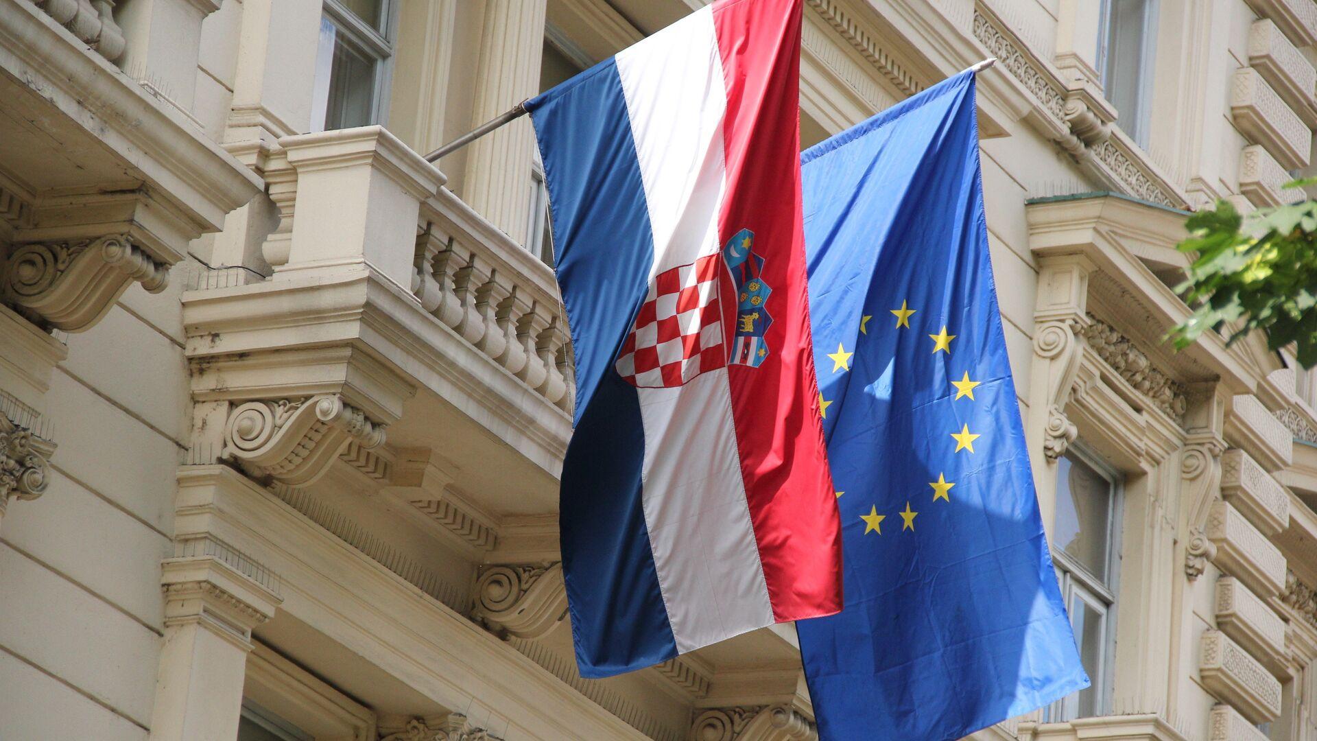 Заставе Хрватске и ЕУ - Sputnik Србија, 1920, 04.10.2021