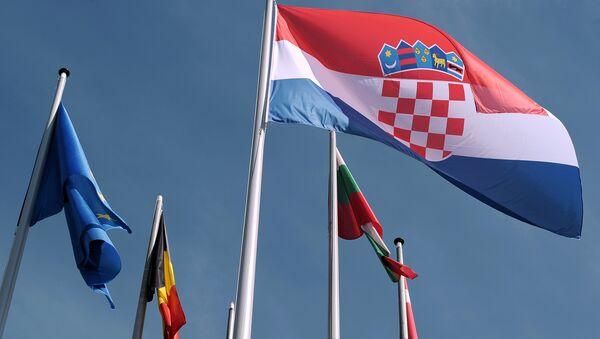 Хрватска застава испред  Европског парламента у Стразбуру,Француска - Sputnik Србија