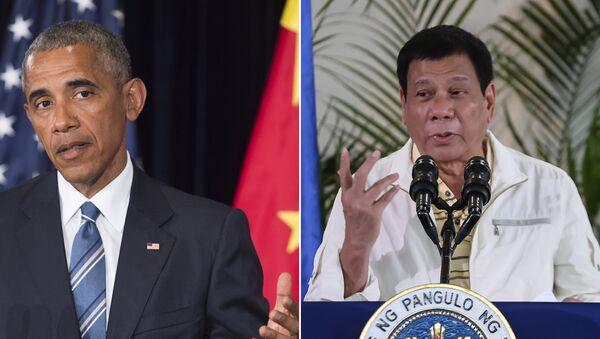 Američki predsednik Barak Obama i predsednik Filipina Rodrigo Duterte - Sputnik Srbija
