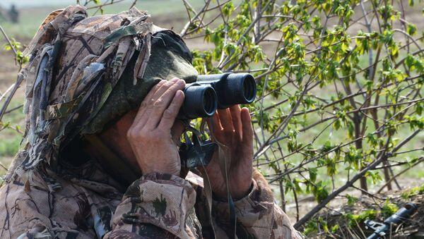Vojnik na osmatračkom punktu tokom vojne vežbe u Luganskoj Narodnoj Republici - Sputnik Srbija