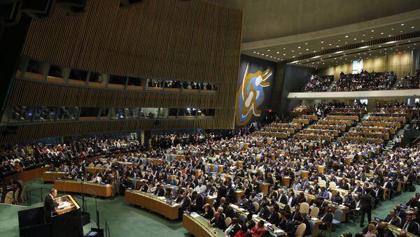 Ban Ki Mun za govornicom u UN - Sputnik Srbija
