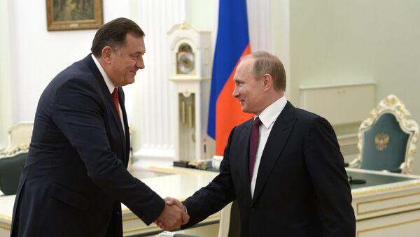 Predsednik Republike Srpske Milorad Dodik i predsednik Rusije Vladimir Putin na sastanku u Kremlju - Sputnik Srbija