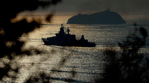 Raketna krstarica Varjag ruske Pacifičke flote tokom manevara u Indijskom okeanu - Sputnik Srbija