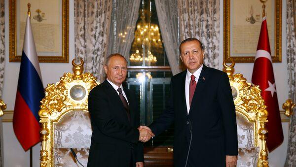 Predsednik RF Vladimir Putin i predsednik Turske Redžep Tajip Erdogan u Turskoj - Sputnik Srbija
