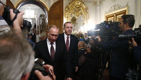 Predsednik Rusije Vladimir Putin i predsednik Turske Redžep Tajip Erdogan na Svetskom energetskom kongresu u Istambulu - Sputnik Srbija