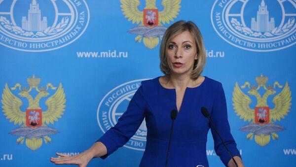 Portparol ruskog Ministarstva spoljnih poslova Marija Zaharova govori na konferenciji za medije - Sputnik Srbija