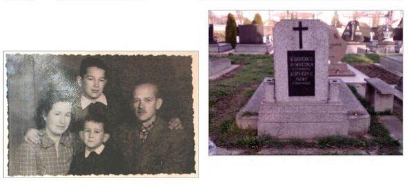 Породица Прудков (лево) и Споменик Прудков Евгенија (1903 – 1991) и Прудков Олге (1912-2013) на православном гробљу у Сенти. - Sputnik Србија