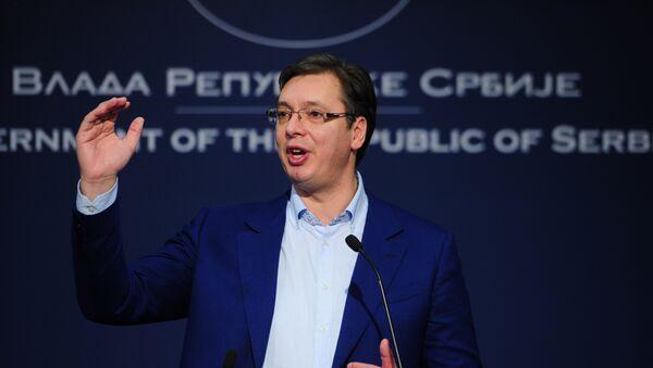 Премијер Србије Александар Вучић говори на конференцији за медије у Београду - Sputnik Србија