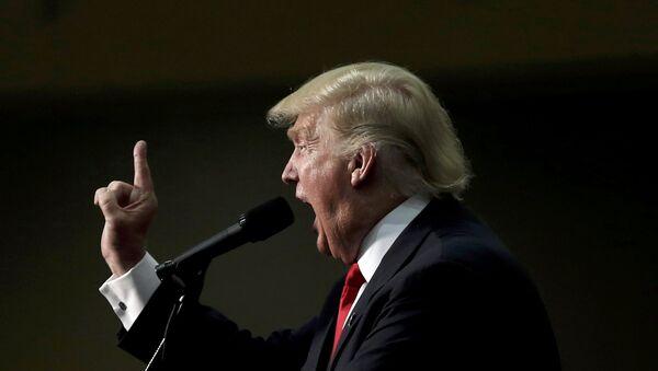 Републикански председнички кандидат Доналд Трамп говори на митингу у Ешвилу у Северној Каролини - Sputnik Србија