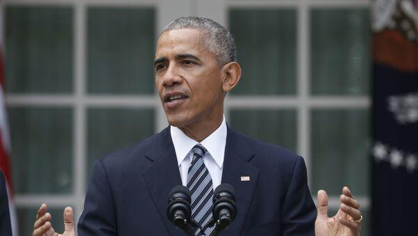 Председник САД Барак Обама говори након председничких избора испре Беле куће у Вашингтону - Sputnik Србија
