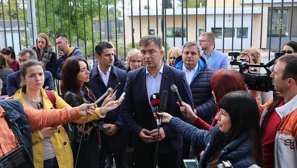 Лидери ДФ испред америчке амбасаде у Подгорици - Sputnik Србија