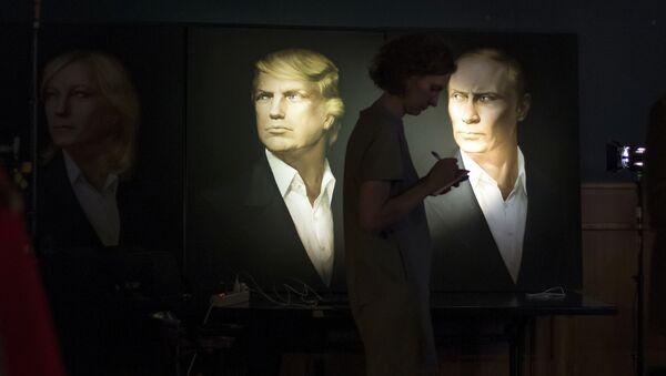 Портрети Доналда Трампа и Владимира Путина у једном пабу у Москви - Sputnik Србија