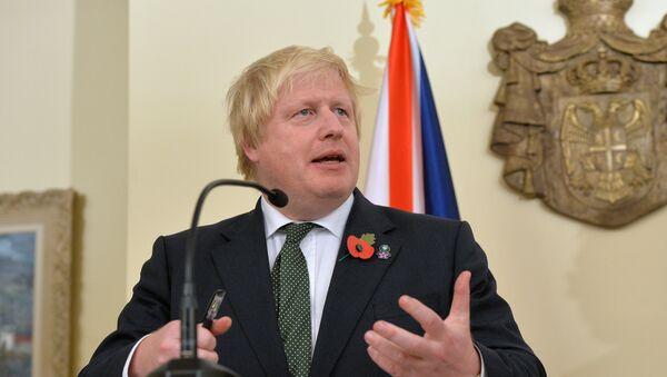 Ministar spoljnih poslova Velike Britanije Boris Džonson govori na konferenciji za medije tokom posete Beogradu - Sputnik Srbija