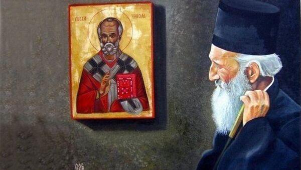 Srpski patrijarh Pavle se moli ispod ikone Svetog Nikole. Rad umetnika Dragana Raskova Miloševića iz Kraljeva - Sputnik Srbija