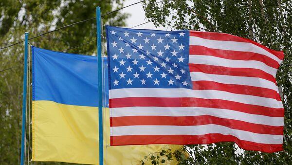 Zastave Ukrajine i SAD - Sputnik Srbija
