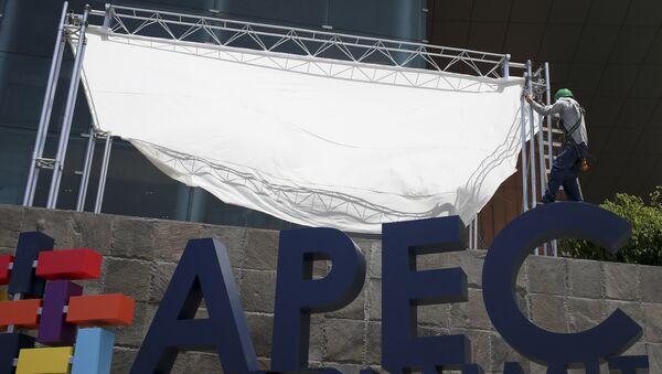 Радник поставља говорницу у Националном музеју у Лими. Лидери земаља Азијско-пацифичке економске сарадње састају се ове недеље у главном граду Перуа. - Sputnik Србија