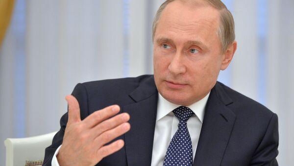 Prezident Rossii Vladimir Putin vo vremя vstreči v Kremle - Sputnik Srbija
