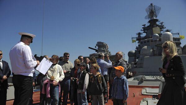 Упловљавање руског брода Петар Велики у сиријску луку Тартус - Sputnik Србија
