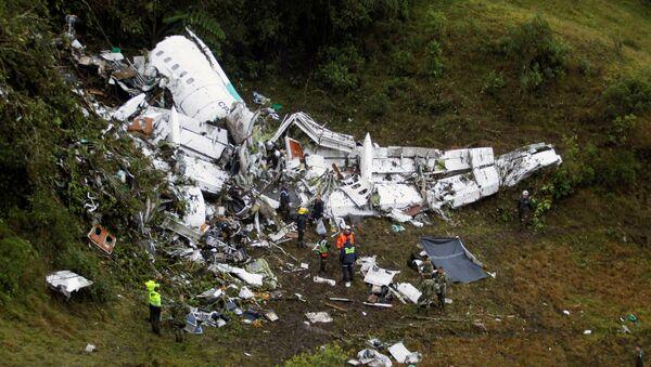 Wreckage from a plane that crashed into Colombian jungle with Brazilian soccer team Chapecoense, is seen near Medellin, Colombia, November 29, 2016. - Sputnik Србија