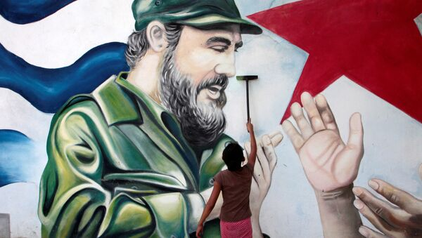 Мурал бившем кубанском лидеру Фиделу Кастру у Никарагви - Sputnik Србија