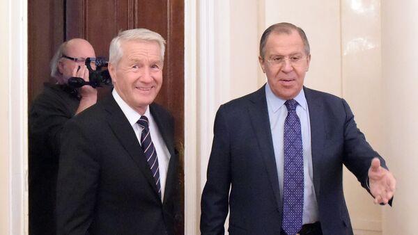 Ministar spoljnih poslova Rusije Sergej Lavrov i generalni sekretar Saveta Evrope Torbjorn Jagland - Sputnik Srbija