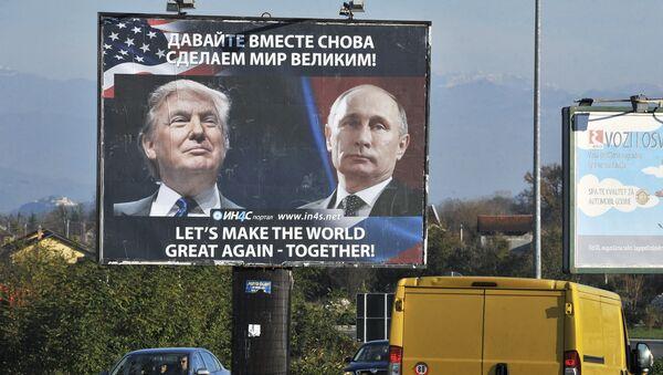 Donald Tramp i Vladimir Putin na bilbordu u Crnoj Gori - Sputnik Srbija