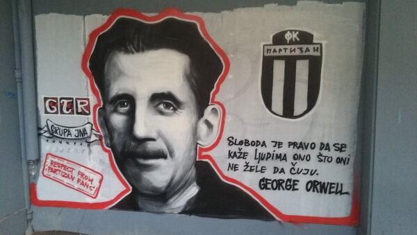 Mural Džordža Orvela u centru Beograda. - Sputnik Srbija