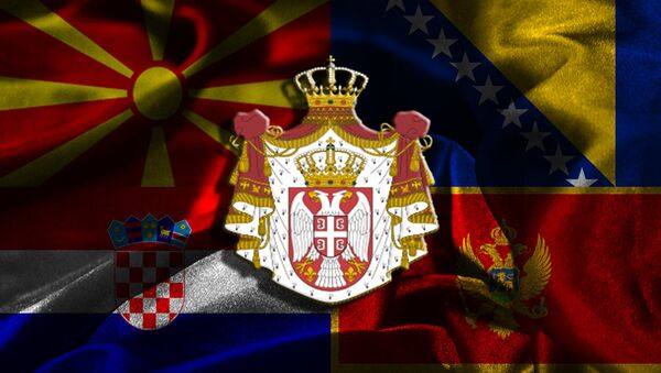 Zastave Hrvatske, Makedonije, Crne Gore, Bih i grb Srbije - Sputnik Srbija