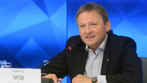 Лидер Партије раста Борис Титов говори на конференцији за медије у прес-центру агенције Русија севодња - Sputnik Србија