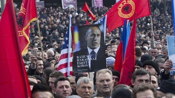 Protesti u Prištini protiv hapšenja Ramuša Haridinaja u Francuskoj. - Sputnik Srbija