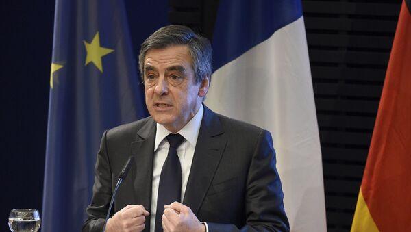 Француски председнички кандидат Франсоа Фијон говори у Фондацији Конрад Аденауер у Берлину - Sputnik Србија