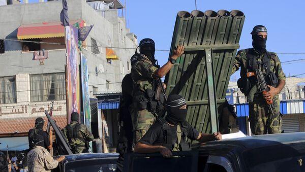 Палестински милитанти са ракетним системом у Појасу Газе - Sputnik Србија