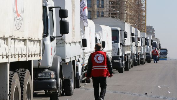 Konvoj Crvenog krsta kreće se iz Damaska u okupirane oblasti Madaje i Zabadanija - Sputnik Srbija