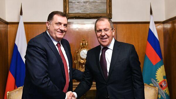 Predsednik Republike Srpske Milorad Dodik i ministar spoljnih poslova Rusije Sergej Lavrov / - Sputnik Srbija