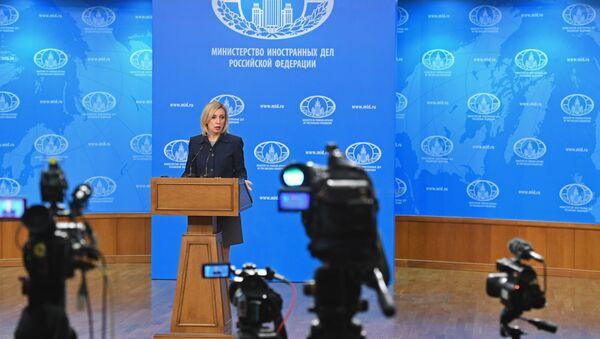 Портпарол Министарства спољних послова Русије Марија Захарова говори на конференцији за медије - Sputnik Србија