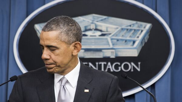 Bivši američki predsednik Barak Obama obraća se medijima u Pentagonu - Sputnik Srbija