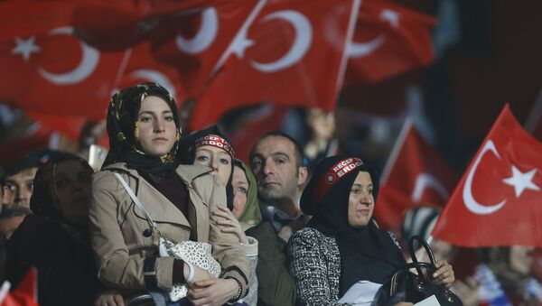 Присталице Ердоганове партије на митингу у Анкари - Sputnik Србија